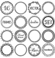 Set of hand-drawn ethnic frames vector