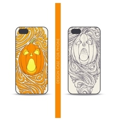 Case for phone pumpkin one vector