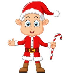 Cartoon kid wearing santa costum vector
