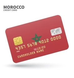 Credit card with morocco flag background for bank vector