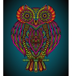 Colorful hand drawn ornate owl in zentangle style vector