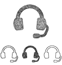 Headphone icon set - sketch line art vector