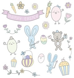 Happy easter hand drawn cute pastel set vector