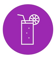 Glass with drinking straw line icon vector