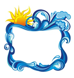 Water frame with sun vector