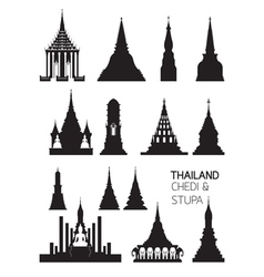 Thailand buddhist pagodas objects silhouette set vector