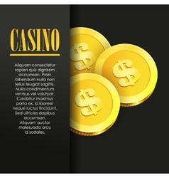 Casino poster background or flyer with golden vector