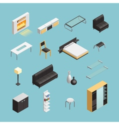 Home interior objects isometric icons set vector