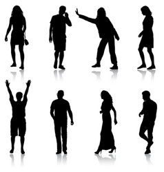 black silhouette group of people standing in vector image