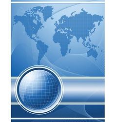Blue background with globe and world map vector image vector image