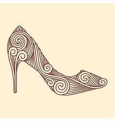 Brown ornamental shoe on light beige background vector