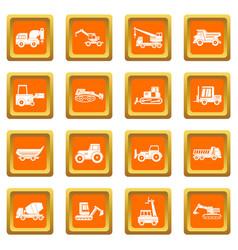 building vehicles icons set orange vector image