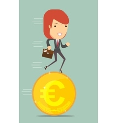 Business woman running on a euro coin vector image vector image