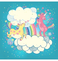 Card with a cute unicorns rainbow in the clouds vector