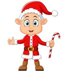 cartoon kid wearing santa costum vector image