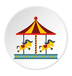 Children carousel with colorful horses icon circle vector