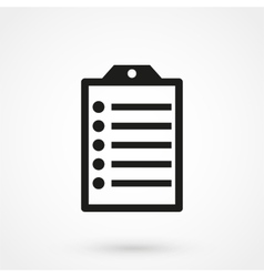 clip board icon black on white background vector image