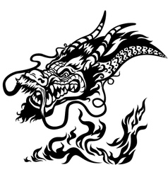 Dragon head black and white vector