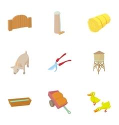 Farmhouse icons set cartoon style vector