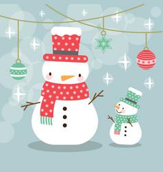 Greeting card christmas card with a snowman vector