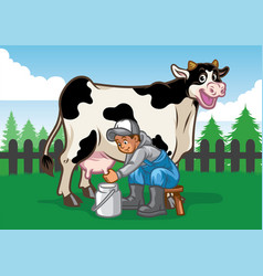 happy cow while the farmer milking vector image