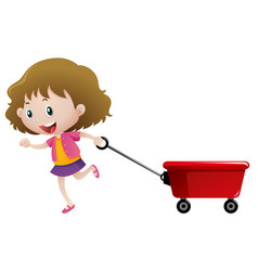 Happy girl pulling red wagon vector