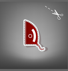 Iron sign red icon with for applique from vector