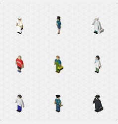 isometric person set of plumber officer guy and vector image vector image
