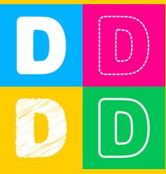 Letter d sign design template element four styles vector