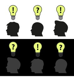 men heads with light bulb idea symbols eps10 vector image vector image