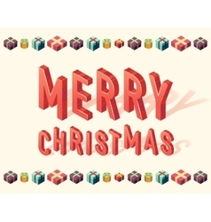 Merry christmas gifts 3d lettering isometric vector