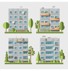 Panel houses flat set1 vector