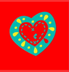 Patterned heart on a red background vector