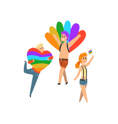 People with rainbow flags and symbols lgbt vector