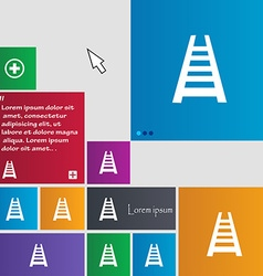 Railway track icon sign buttons modern interface vector