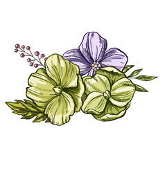 Realistic flowers and leaves hand drawn colorful vector