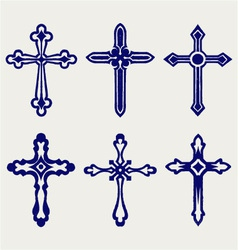 Religious cross design collection vector image vector image