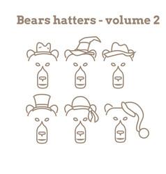 Set of bear icon vector