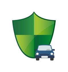 Shield and car icon vector