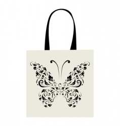 Shopping bag design vintage butterfly vector