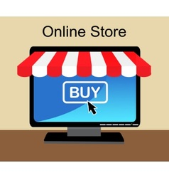 shopping online in the computer vector image