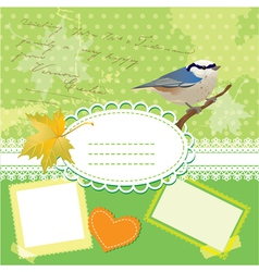 Vintage frames with bird and leafs vector image vector image