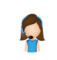 Woman call center with headphone vector