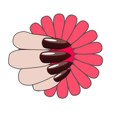 woman hand with nice manicure and flower vector image