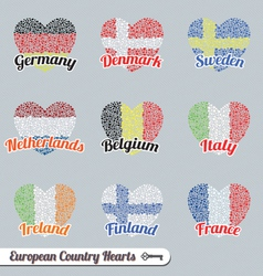 Europe country heart labels and icons vector