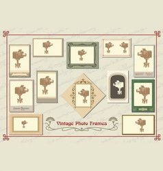Set of vintage photo frames vector image