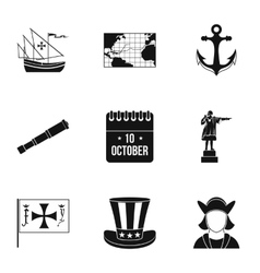 Discovery of america icons set simple style vector