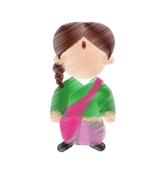 hand drawing color woman character indian culture vector image