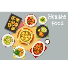 Healthy food dishes icon for lunch menu design vector
