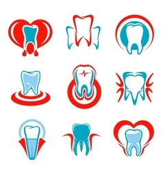 Dentistry tooth icons set vector